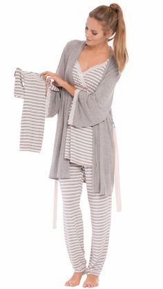 Olian Maternity Ann Pajamas Grey Striped