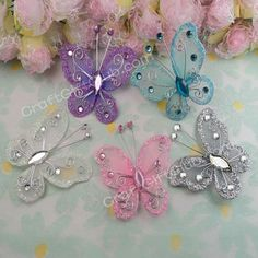 100 Mix Purple White Blue Pink Silver Nylon Stocking Butterfly Wedding Party Decoration 5.5CM Wholesale Favor Gift(China (Mainland))