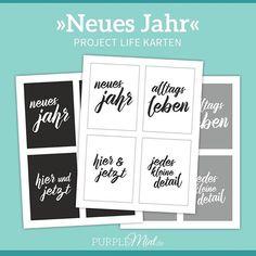 """Neues Freebie auf dem Blog: Das Project Life Set """"Neues Jahr"""". In 3 Farben und 2 Varianten. #projectlife #pmprintables #purplemintde #freebie #printable"""