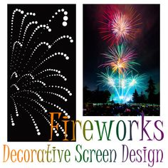 Decorative screen/panel design 'Fireworks' by QAQ. This design can be made in any color in a variety of materials, and looks great when placed on a lightbox or multi-colored wall. Decorative Screen Panels, Fireworks Design, Laser Cut Screens, Garden Screening, Interior Decorating Styles, Screen Design, Lightbox, Wall Colors, Laser Cutting