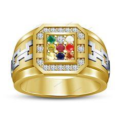 Multi-Color Nine Stone Navratna Gemstones 14K Y/Gold FN 925 Silver Men's Ring #aonebianco #NavgrahNavratnaRing
