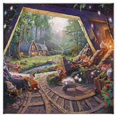 ''Snow White and the Seven Dwarfs'' Gallery Wrapped Canvas by Thomas Kinkade Studios | shopDisney Disney Pictures, Cool Pictures, Disney Merry Christmas, Thomas Kincaid, Drive In Movie Theater, Disney Princess Snow White, Seven Dwarfs, Cozy Cottage, Disney Drawings