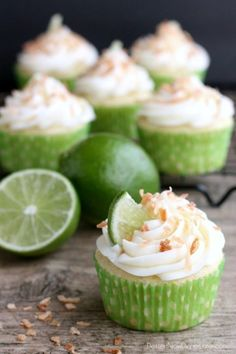 Coconut lime cupcakes.. This is the ultimate summer cupcake. Get the recipe at Dessert Now Dinner Later.