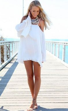 Off-shoulder Long-Sleeve Loose Chiffon Dress $29.99