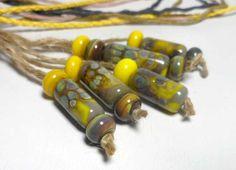 Lampwork. Glass bead handmade.Beads yellow, lemon yellow, brown, gray, marsh. by Glasskaramelka on Etsy https://www.etsy.com/listing/232922221/lampwork-glass-bead-handmadebeads-yellow
