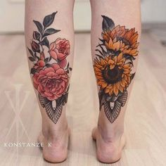 Beautiful floral calf tattoos done by Konstanze K. #KonstanzeK #illustrativetattoos #flower #sunflower #peony