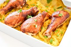 Easy One Dish Spaghetti Squash & Spicy BBQ Chicken Drumsticks turn out tender and juicy! Perfect for a simple weeknight meal or a lazy Sunday afternoon.