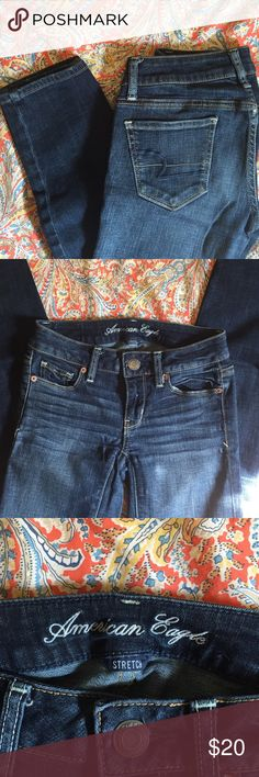 Size 00S AE brand skinny jeans Great condition American Eagle skinny jeans in a medium wash with little to no wear. Great paired with your favorite white tee or dressed up for casual Fridays! American Eagle Outfitters Jeans Skinny