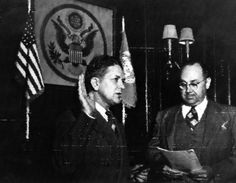 330-PS-793-3: U.S. Army Radiophoto: Conflict in Korea. Mr. William J. Serald, (left), Chief of Diplomatic Secretary and Chairman of the Allied Council of Japan – HQ SCAP, take the Oath of Office Administered by Mr. James B. Pilcher, Consul General, upon the occasion of his appointment as political advisor to SCAP with the rank of ambassador. U.S. Army Photograph.