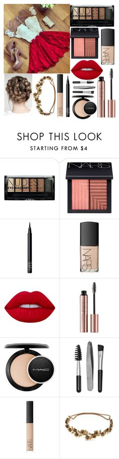 """Untitled #88"" by chica1622 ❤ liked on Polyvore featuring Boohoo, NARS Cosmetics, Lime Crime, MAC Cosmetics, Sephora Collection and Jennifer Behr"