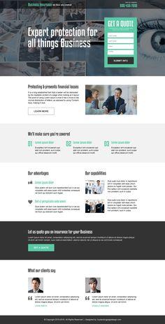 business insurance responsive landing page design