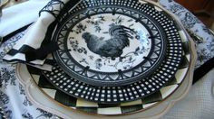 Mountain Breaths: Rooster Tablescape. Plates from TJ Maxx