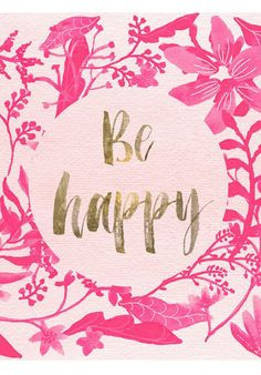 Pink Happy Canvas Print, Oliver Gal