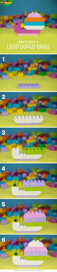 Homemade LEGO DUPLO snails like these are an incredible way to teach pre-school children about animals they see outside. Build them using a handful of LEGO DUPLO bricks.