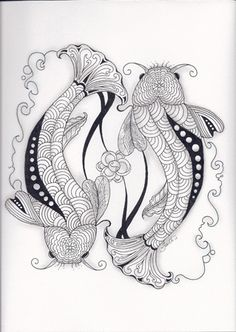 Zentangle Koi Pond/ one for mom and one for me Doodles Zentangles, Zentangle Patterns, Zen Doodle, Doodle Art, Adult Coloring Pages, Coloring Books, Colouring, Zantangle Art, Carpe Koi