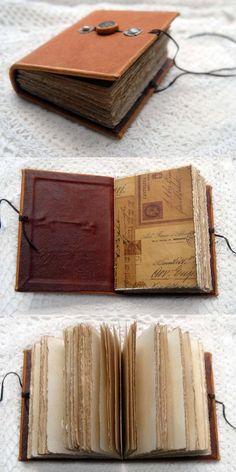 Handmade Journals, Handmade Books, Tea Stains, Orange Leather, Book Binding, Leather Journal, Vintage Postcards, Vintage Photos, Smash Book