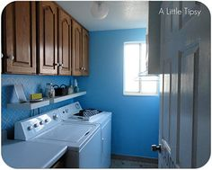 A Little Tipsy: Cute~DIY Laundry Room. lots of other great ideas too!