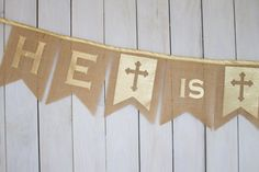 He Is Risen Easter Jesus Burlap Bunting Banner with Gold Fabric Letters and Cross for Photo Prop, Home Decor, Party or Church Decoration