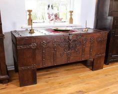 Gothic iron bound chest, Marhamchurch antiques
