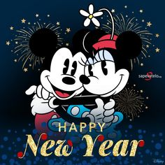 Happy New Year Mickey Mouse and Minnie Mouse Disney Happy New Year, Happy New Year Pictures, Happy New Year Wishes, Happy New Year 2019, Merry Christmas And Happy New Year, Happy Pics, Happy Year, Mickey Minnie Mouse, Mickey Mouse And Friends