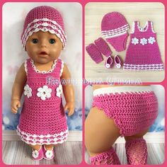 Одежда для babyborn (#for_baby_born)'s products – 19 products | VK Crochet Doll Clothes, Crochet Dolls, Crochet Hats, Girl Dolls, Baby Dolls, Baby Born Kleidung, Baby Pop, Baby Dress Patterns, Stuffed Toys Patterns