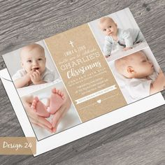 Personalised Photo Christening Baptism Invitations Boy or Girl