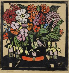 Fuchsia - by Margaret Preston. Woodblock print