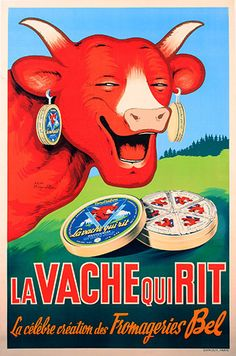 La Vache Qui Rit  Vintage Food & Drink Poster  Poster by WallArty