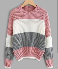 Shop Drop Shoulder Color Block Sweater at ROMWE, discover more fashion styles online. Trendy Outfits, Fall Outfits, Cute Outfits, Sweater Fashion, Sweater Outfits, Comfy Hoodies, Hooded Sweatshirts, Cute Cardigans, Sweaters For Women