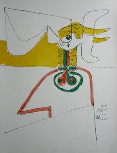 LE CORBUSIER (1887-1965) TAURUS 6 1931/56/64 LITHOGRAPH HANDSIGNED AND NUMBERED EDITION 150 CERTIFIED BY HEIDI WEBER 72 X 54 CM – 28 3/8 X 21 2/8 IN. LITERATURE: LE CORBUSIER – THE GRAPHIC WORK, PAGE 87
