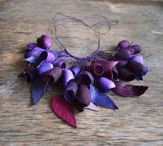 necklace pendants silk cocoon purple lilac vinous от batikelena