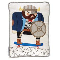 Viking on Skateboard Throw Pillow   The Land of Nod