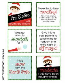 Printable Elf Notes for the A Little Moore 2015 Elf Calendar