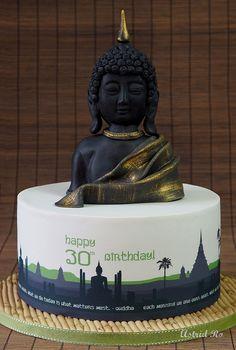 Thailand cake with handmade fondant Buddha - Astrid Ro's Werkstatt
