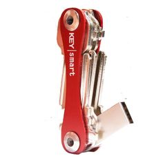 Keysmart: The Ultimate Pocket Key Organizer that it is Designed and Based on the Folding (Folder)/Pocket Knife, No Position Locks. Less Bulky and More Compact than a Key Ring, No Rattle Noise Free, Lighter Weight, Expandable from 2|3|4-98|99|100 keys and Loop Ring (to attach a can opener, fob, other key ring accessories or to a Lanyard) and/or USB, and Made of Scratch Resistant Hard Anodized Aluminum (7 Colors) or Titanium. Standard Model is 73mm Long to fit most 10-55mm keys. Made in the…