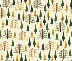 Tall Pines - Cream fabric by oliveandruby on Spoonflower - custom fabric