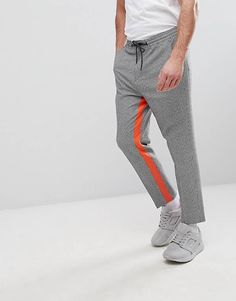 58d3e86db3b ASOS Tapered Smart Pants In Gingham With Orange Insert Stripe Teen Pants