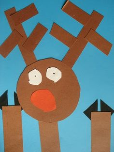 Rudolph at the Window using simple shapes {circles, rectangles, and triangles}.