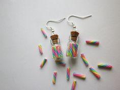 fiole sucre d orge multicolore boucles d oreille NOEL gourmande fimo 1 : Boucles d'oreille par fimo-relie