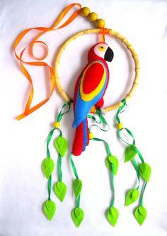 Felt Parrot Parrot Baby Crib Mobile by LadybugOnChamomile, Baby Mobile Felt, Baby Crib Mobile, Mobiles, Crib Toys, Baby Toys, Nursery Crib, Love Craft, Felt Fabric, Baby Room Decor