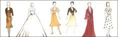EVITA costume renderings by designer Christopher Oram.