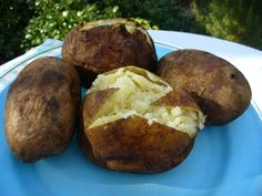 Smoked Baked Potato #Recipe  Rub potatoes with olive oil, smoke at 250°F for 3 to 3 1/2 hours, or until tender. Leftover smoked baked potatoes, peeled and cubed, are great for: hash browns, potato salad, mashed potatoes, potato soups, & chowders. Try different woods. Hickory is great! So is cherry and apple. You will love these potatoes.