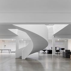 Moura Martins Architects have designed a new office in Lousada, Portugal for office furniture manufacturer Famo. It was held a full refurbishment of Famo Contemporary Stairs, Contemporary Decor, Office Furniture Manufacturers, Stair Railing, Railings, Workspace Design, Industrial, Office Interiors, Facade