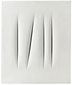 Lucio Fontana 1899 - 1968 CONCETTO SPAZIALE, ATTESE signed, titled and inscribed Mi fa male la testa on the reverse, waterpaint on canvas 65 by 54 cm. Executed in 1966-68.