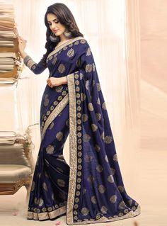Navy Blue Art Silk Festival Wear Saree 100822