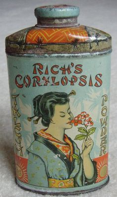 "THIS IS THE RAREST OF ALL THE CORYLOPSIS SERIES POWDER TINS, IT IS ""RICH'S CORYLOPSIS"" ADVERTISING POWDER TIN AND IT'S FULL. HAS GRAPHIC OF BEAUTIFUL ORIENTAL GIRL ON FRONT. TIN IS IN EXCELLENT PLUS CONDITION, SHOWS LITTLE LIGHT SCATTERED WARE. 