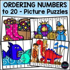 Practice and review sequencing numbers to 20 with these FUN, differentiated picture puzzles! Your students should order the numbers to complete the picture. Dinosaur, Fairy Tale, Under the Sea and Spring themed puzzles for your math centers! Simply print on cardstock, laminate and cut along the solid lines! Alternatively, the black and white versions can be printed on paper for students to color and then use as a cut and paste activity. #number