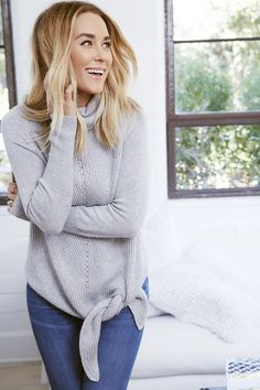 Lauren Conrad wearing an LC Lauren Conrad for Kohl's Side Tie Turtleneck