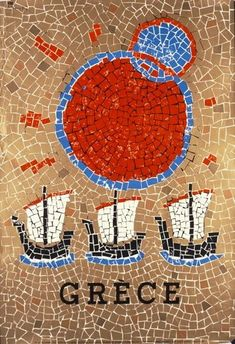 Original vintage travel poster for Greece - Griechenland - featuring a colourful mosaic style image depicting three sailing boats with a bright sun in the sky. Old Posters, Vintage Travel Posters, Vintage Ads, Santorini Island, Photo Images, Poster Ads, Tourism Poster, Art Design, Greece Travel