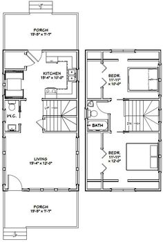 PDF house plans, garage plans, & shed plans. A Frame Floor Plans, A Frame House Plans, Small Floor Plans, Tiny House Cabin, Cottage House Plans, Country House Plans, Tiny Guest House, Little House Plans, Small House Plans